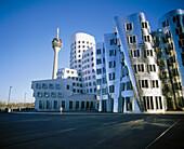 Radio & TV tower and Neuer Zollhof building at Unterbilk district. Düsseldorf. Germany
