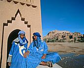 Blue men, Ait Benhaddou kasbah. Ouarzazate region, Morocco
