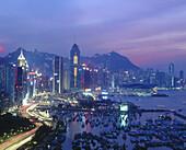 Night view of Wanchai district. Hong Kong. China