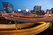 Architecture, Asia, Building, Buildings, Cities, City, Cityscape, Cityscapes, Color, Colour, Dusk, Exterior, Fast, Flyover, Flyovers, Freeway, Freeways, Highway, Highways, Japan, Motion, Motorway, Motorways, Movement, Moving, Outdoor, Outdoors, Outside,