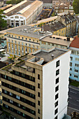 Trialbiker on edge of Highrise, Linz, Austria