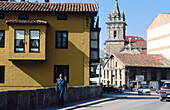 San Sebastian church (XVI-XVIIIth centuries) in background. Reinosa. Cantabria. Spain.