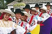 Folk group Nucanchi Llacta with traditional costumes. Zuleta. Imbabura province. Ecuador
