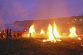Sant Joan bonfires. On Arrigunaga beach. Getxo. Vizcaya. Basque Country. Spain