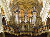 Detail of organ (1721) by Jan Mosengel in famous Swieta Lipka Baroque church. Masuria lakes region, Poland