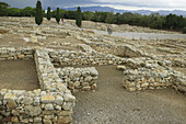 Ruins of the old Greek and Roman city. Ágora at background (public square). Ampurias. Girona province. Catalonia. Spain