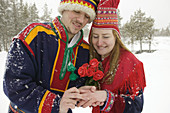 Traditional Lapp wedding in Hotel Kakslauttanen. Lapland. Ivalo. Finlandia