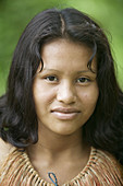 Indigenous girl portrait. Yaguas Community. Amazonas. Peru.