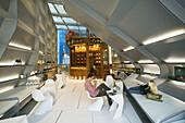 Lopez de Heredia winery: shop. Wine tasting. Architect: Zaha Hadid. Villa Tondonia. Haro, La Rioja, Spain