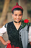 Girl wearing Lanes traditional costume. Asturias