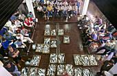 Auction at fish exchange. Ondarroa. Vizcaya. Euskadi. Spain.