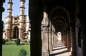 Lobby and Minars. Jami Masjid. Champaner Pavagadh Archaeological Park. World Heritage Site. Panch Mahal. Gujarat. India