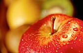 Aliment, Aliments, Apple, Apples, Close up, Close-up, Closeup, Color, Colour, Delicious, Drop, Droplet, Droplets, Drops, Food, Foodstuff, Fruit, Fruits, Healthy, Healthy food, Horizontal, Indoor, Indoors, Interior, Nourishment, Nutrition, Red, Still life