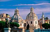Domes of Santa Maria di Loreto and Santissimo Nome di Maria Churches. Roma. Lazio. Italy
