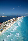 Air view of the Hotels area. Cancun. Mexico.