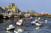 Barfleur harbour at low tide. Normandy. France