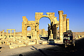 Gate of Roman cardo , ruins of old Greco-roman city of Palmira. Syria