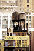 Usa, NY. Manhattan, old water tanks on roofs