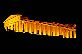 Temple of Concorde built 5th century AD in classical doric style, considered as the Greek temple in best condition in the world. Agrigente. Night view. Sicily. Italy.