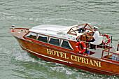 Boat. Hotel 5* Cipriani on Giudecca island. Venice. Venetia. Italy