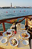 The Hotel Cipriani Terrace on Giudecca canale. Giudecca island. Venice. Venetia. Italy