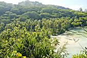 Remote beach. Huahine island. Leeward islands. French Polynesia. South Pacific.