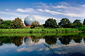Gas tank in the shape of a ball, Rhine Herne Canal, Ruhr Valley, Ruhr, Northrhine Westphalia, Germany
