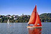 Sailing boats on a lake, Harkort lake, Wetter, Ruhr Valley, Ruhr, Northrhine, Westphalia, Germany