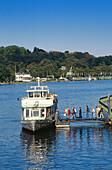 Excursion boat at a pier, Baldeney Lake, Essen, Ruhr Valley, Ruhr, Northrhine, Westphalia, Germany