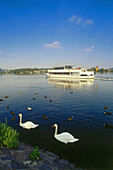 Excursion boat on reservoir Harkortsee, Wetter, North Rhine-Westphalia, Germany