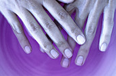 Adult, Adults, Beauty, Beauty Care, Close up, Close-up, Color, Colour, Contemporary, Detail, Details, Female, Feminine, Finger, Fingers, Hand, Hands, Horizontal, Human, Indoor, Indoors, Inside, Interior, Liquid, Liquids, Manicure, One, One person, People