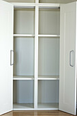 Arrangement, Cabinet, Cabinets, Closet, Closets, Color, Colour, Concept, Concepts, Cupboard, Cupboards, Door, Doors, Empty, Indoor, Indoors, Inside, Interior, Open, Order, Room, Roomy, Shelf, Shelves, Shelving, Space, Spacious, Vertical, White, A75-23474