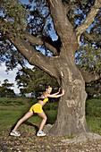 yside, Daytime, Exercise, Exterior, Female, Fit, Fitness, Full-body, Full-length, Generation X, Human