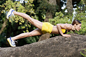 Country, Countryside, Daytime, Exercise, Exterior, Female, Fit, Fitness, Full-body, Full-length, Gen