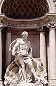 Central sculpture of Trevi fountain by Niccolò Salvi (1735). Rome, Italy