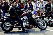 Biker and young people in Sunday at Yoyogi park, Harajuku. Tokyo, Japan