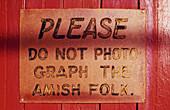 No photos sign in Lancaster County. Pennsylvania, USA