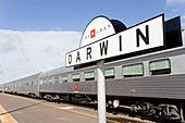 The Ghan (train going from Darwin to Adelaide through Australia along a 3000 km railroad) . Departure station. Darwin. Northern Territory. Australia