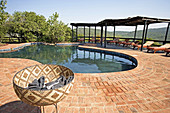 Swimming pool. The luxurious Phinda Lodge located in a private 17000 hectares private park. Kwazulu-Natal province. South Africa