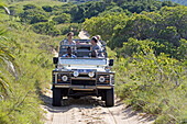 Tourists in 4 wheels drive.The luxurious Rocktail Lodge located in a private park by the seaside near Saint Lucia Park. Kwazulu-Natal province. South Africa