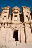 The Deir, also called Monastery, has been carved in the rock on top of mountain at II th century BC by the Nabatean people. This temple was a place of worship and later on used as a primitive church. Archeological site of Petra. Jordan.