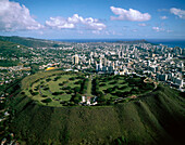 Punchbowl, a crater containing the National Memorial Cemetery of the Pacific with graves of World War II, Korean, and Vietnam War dead. Honolulu. Oahu. Hawaii