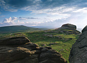 Landscape at Hay Tor (isolated weathered rock). Dartmoor. Devon. England