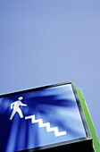 Blue, Blue sky, Close up, Close-up, Closeup, Color, Colour, Concept, Concepts, Daytime, Detail, Details, Exterior, Low angle view, Outdoor, Outdoors, Outside, Passer-by, Passers-by, Pedestrian, Pedestrians, Sign, Signs, Skies, Sky, Stairs, Street, Street