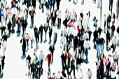 Blurred, Collective, Color, Colour, Community, Crowd, Crowded, Crowds, Exterior, Human, Many, Motion, Movement, Moving, Outdoor, Outdoors, Outside, People, Person, Persons, Special effects, View from above, Walk, Walking, D56-409946, agefotostock
