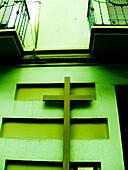 Balconies, Balcony, Christian, Christianity, Color, Colour, Concept, Concepts, Cross, Crosses, Daytime, Exterior, Facade, Façade, Facades, Façades, Faith, Green, Green tone, Outdoor, Outdoors, Outside, Religion, Symbol, Symbols, Toned, D56-530305, agefot