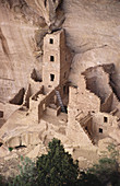 USA, Colorado, Mesa Verde. Overhead view of square tower house cliff dwelling, from only public viewpoint.