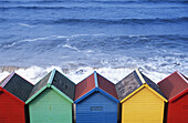 Beach huts in Whitby. North Yorkshire, UK