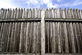 18th century American western fort, fortification, defense, pinted shaped logs, fortification wall, Ft. Vancouver National Park, Vancouver, Washington, USA