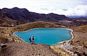 People looking at Emerald Lakes, Tongariro Crossing, Tongariro National Park, North Island, New Zealand